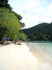 tältet sett från stranden
