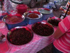 Matmarknad i Sichiengmai med blandade småkryp