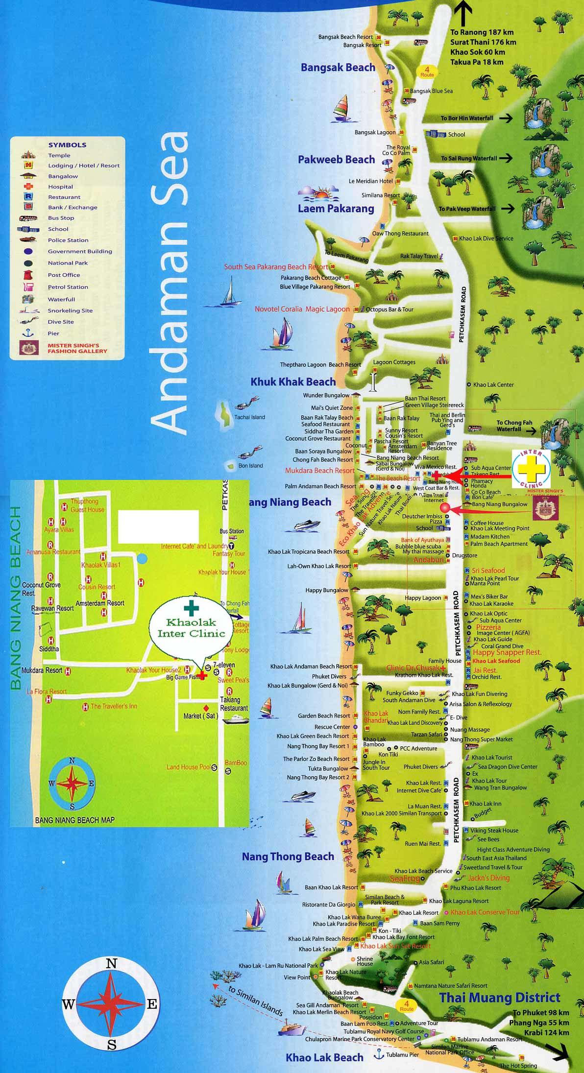 karta över khao lak Khao lak   Platser i Thailand   ThailandForum.se karta över khao lak